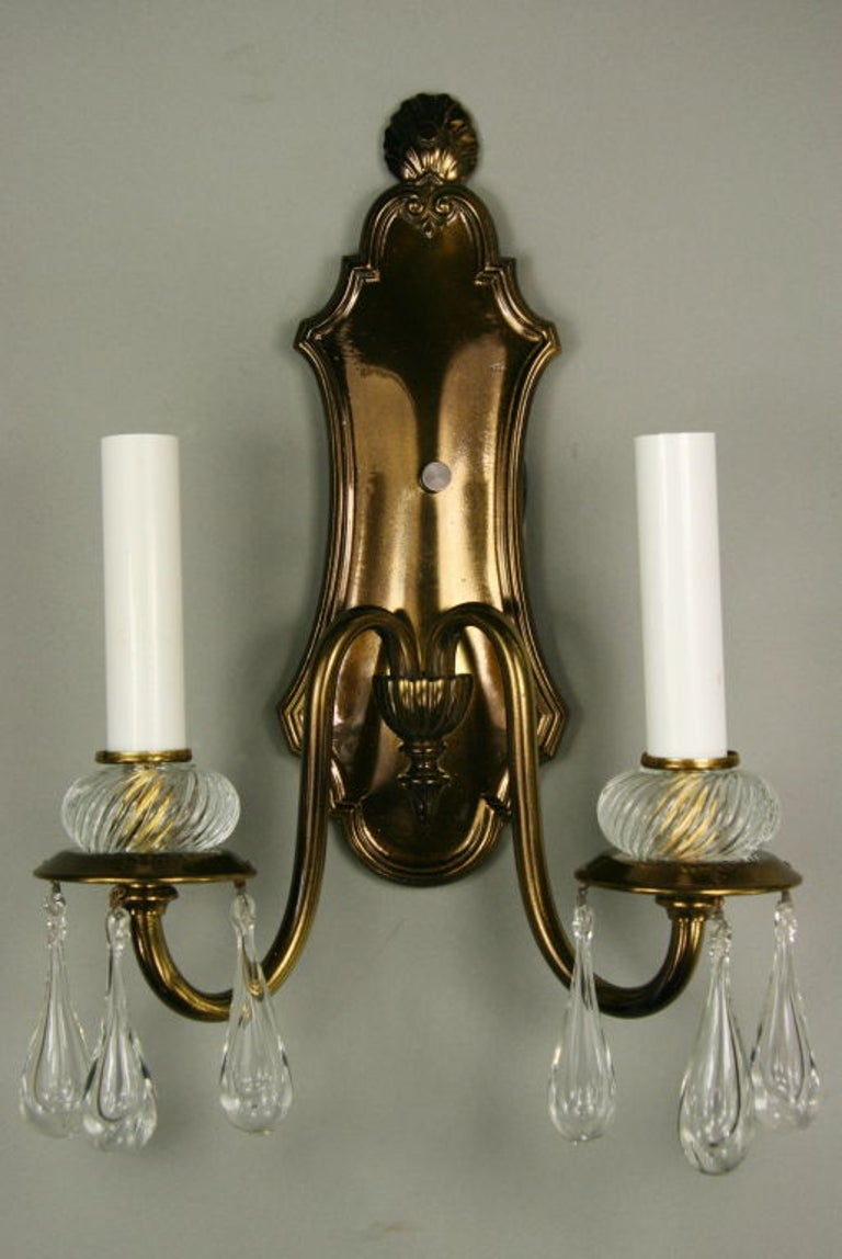 Pair of Double Arm Darkned Brass Crystal Sconce In Good Condition For Sale In Douglas Manor, NY