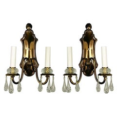 Pair of Double Arm Darkned Brass Crystal Sconce