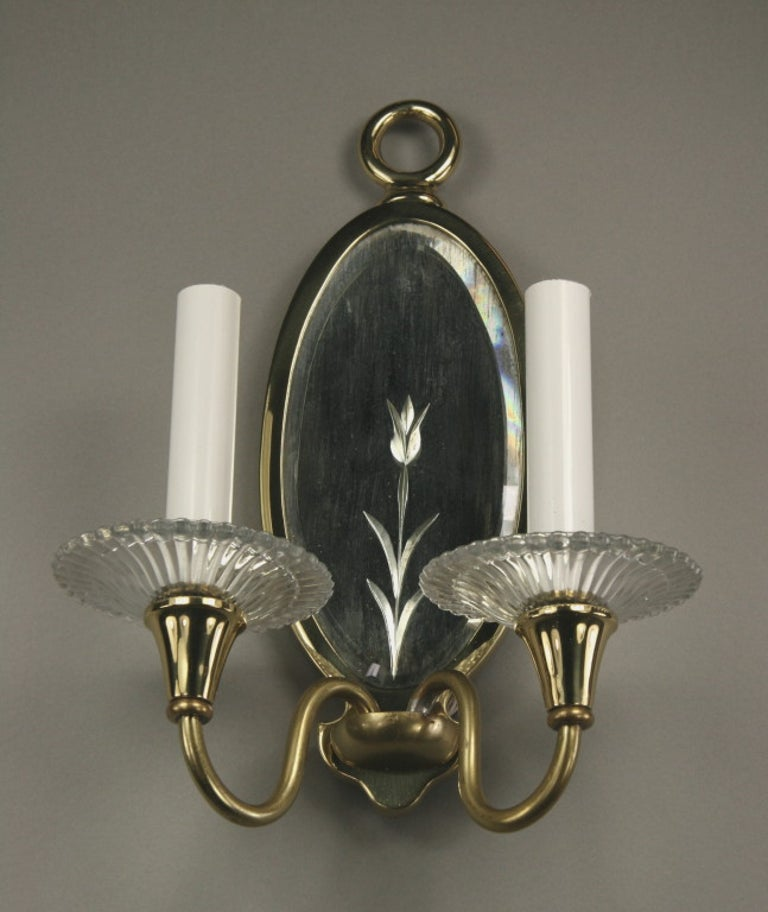 Pair of Double Arm Mirrored Sconce In Good Condition For Sale In Douglas Manor, NY