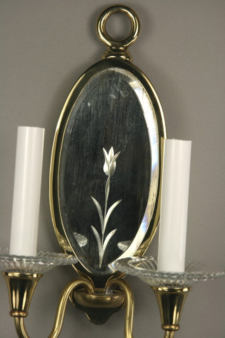Mid-20th Century Pair of Double-Arm Mirrored Sconce For Sale