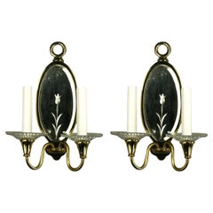 Pair of Double Arm Mirrored Sconce