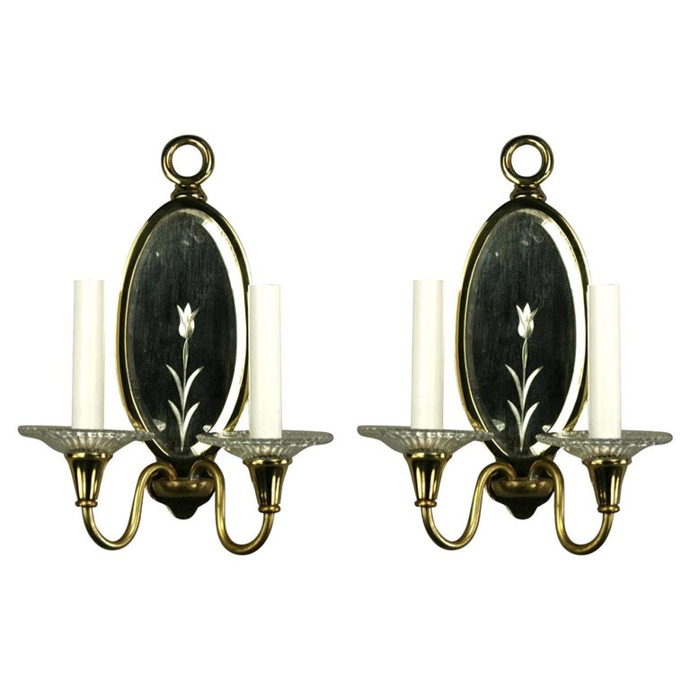 Pair of Double Arm Mirrored Sconce For Sale
