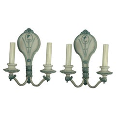 Pair of Double Arm Pale Blue Sconces circa 1920's