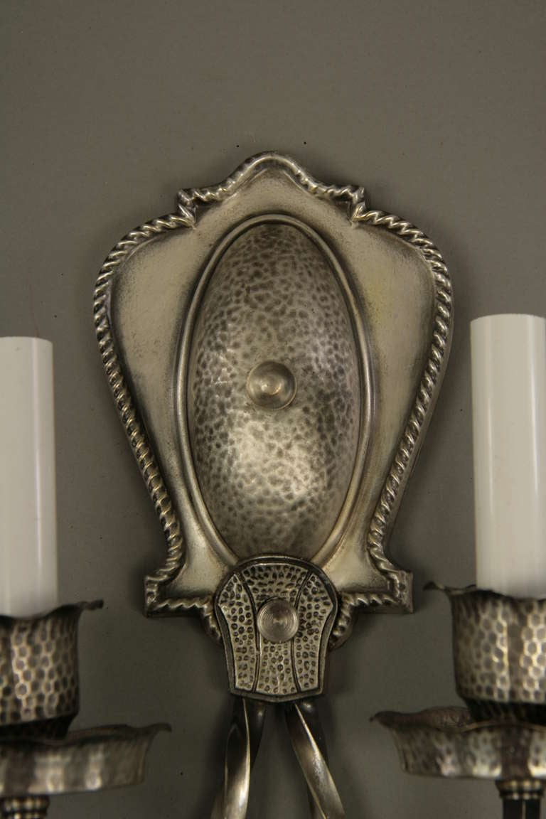 20th Century  Silver Plated 2 arm sconces circa 1920's For Sale