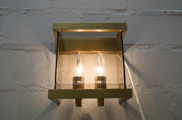 Pair of Double Brass and Smoked Glass Wall Lights by WKR, Germany, 1970s For Sale 2