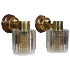 Double Glass Amber and Clear Shade Brass Sconces Mid-20th Century Nautical, Pair