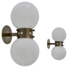 Pair of Double Globe Sconces in Dark Brass Attr to Mazzega