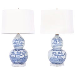 Pair of Double Gourd Chinese Blue and White Table Lamps