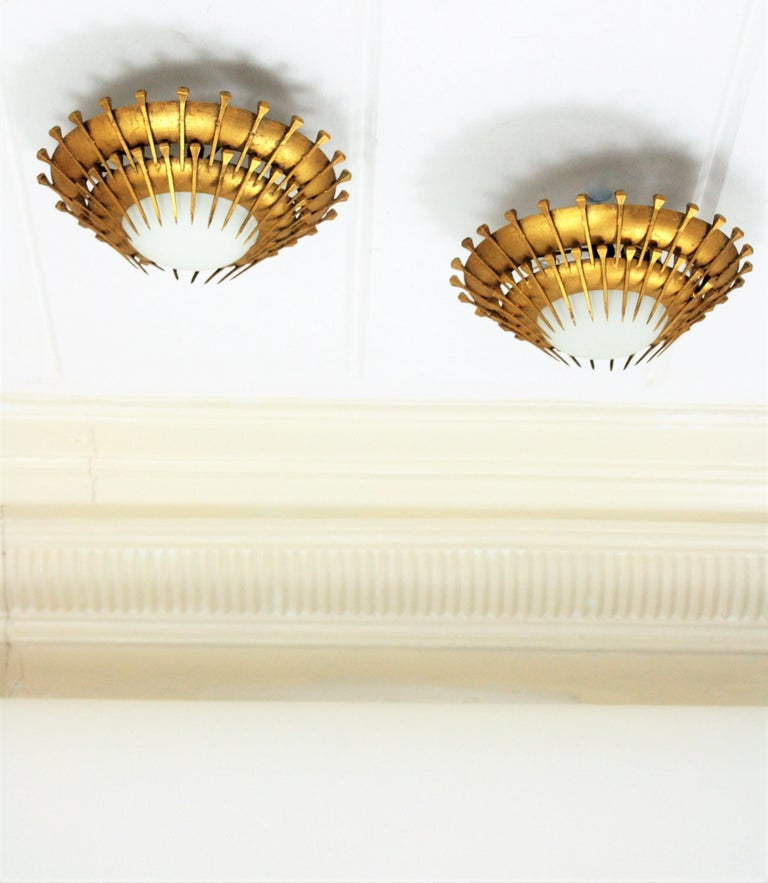 Pair Of Simple Church Lights For Sale: Pair Of Double Layered Gilt Iron Milk Glass Sunburst Light