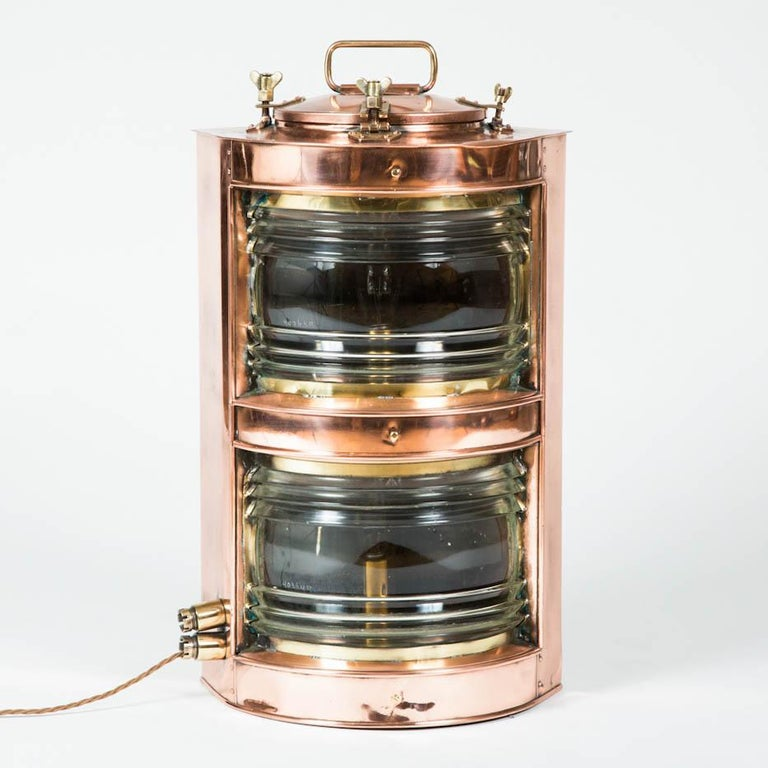 Scottish Pair of Double-Stack Copper Ships Lights For Sale