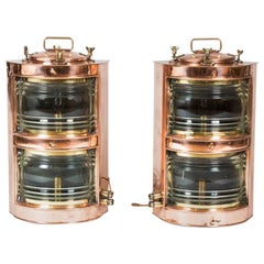 Pair of Double-Stack Copper Ships Lights