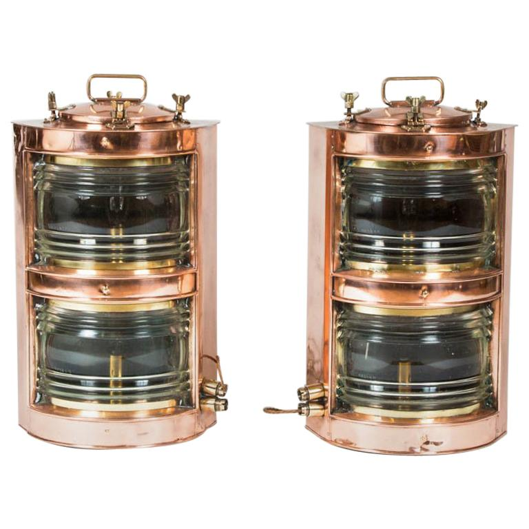 Pair of Double-Stack Copper Ships Lights For Sale