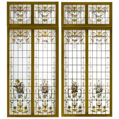 Pair of Double Stained Glass Windows and Their Transoms, circa 1880