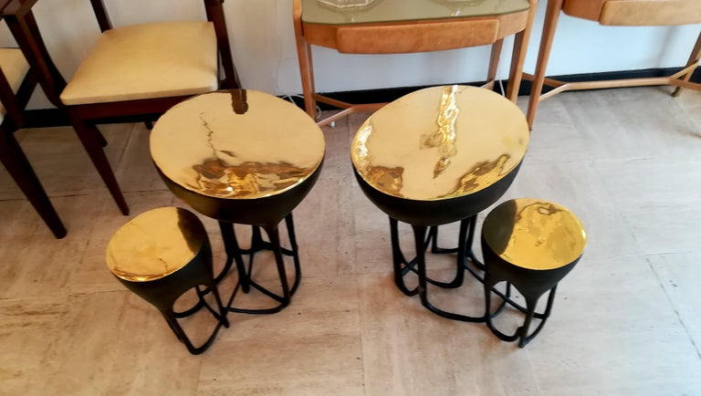 Pair of Double Top Bronze Side Tables For Sale 4