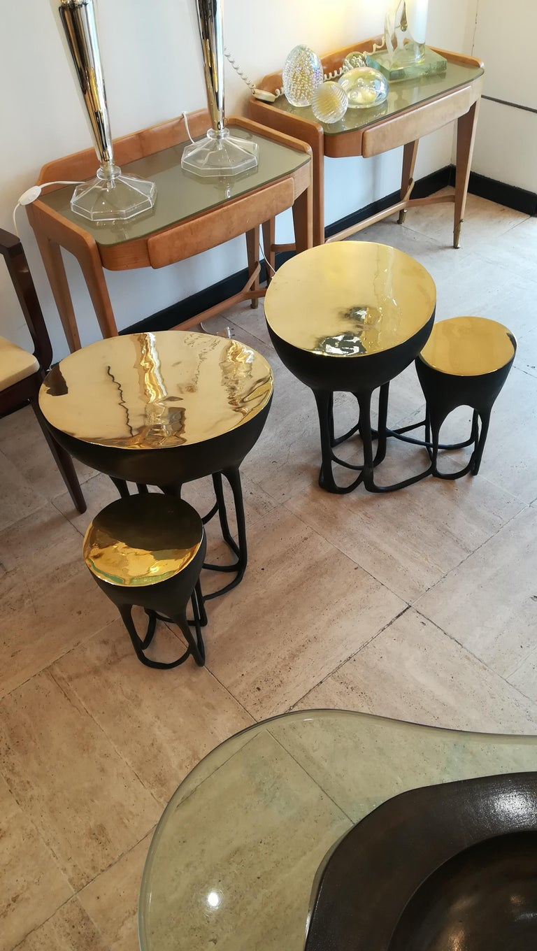 Pair of Double Top Bronze Side Tables For Sale 6