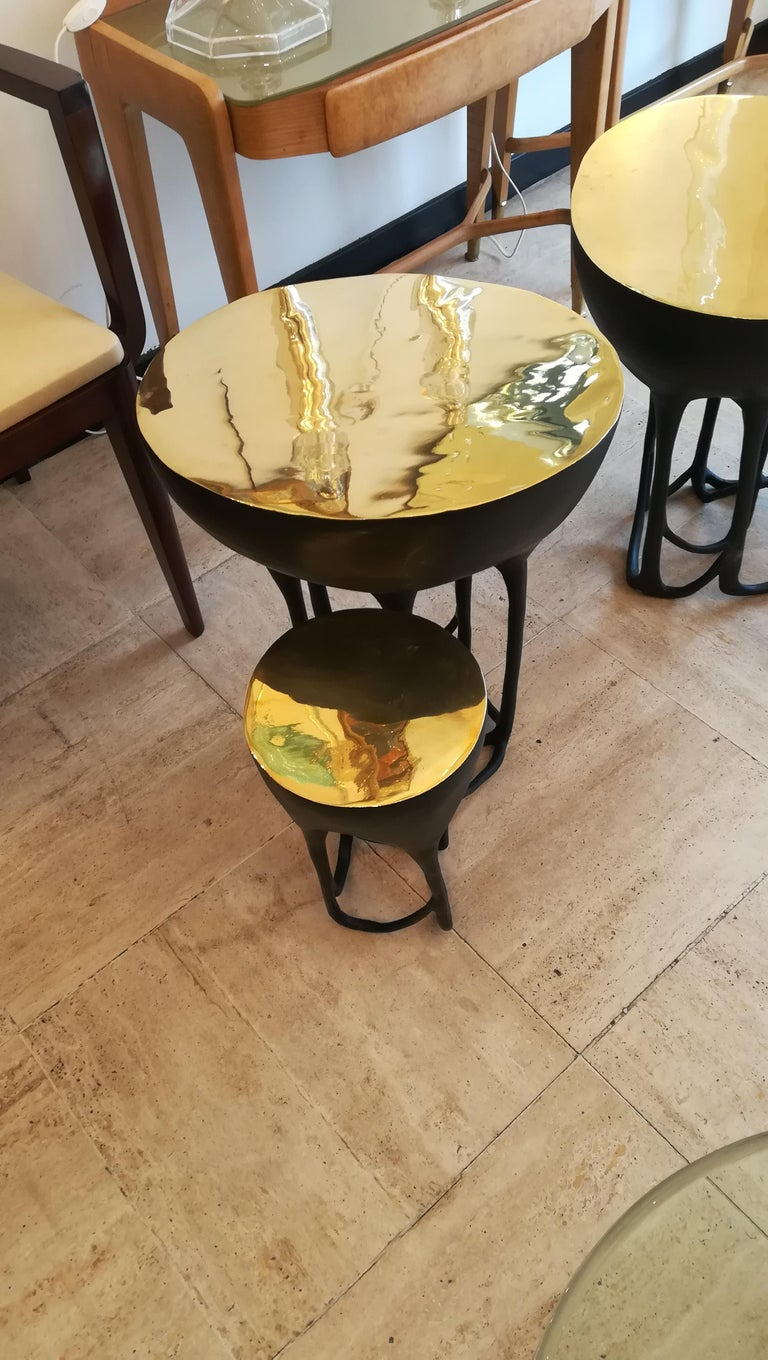 Pair of Double Top Bronze Side Tables For Sale 7