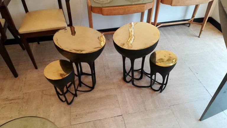 Pair of double top bronze side tables, black patina except the top natural bronze. Can be sold separately on request.
