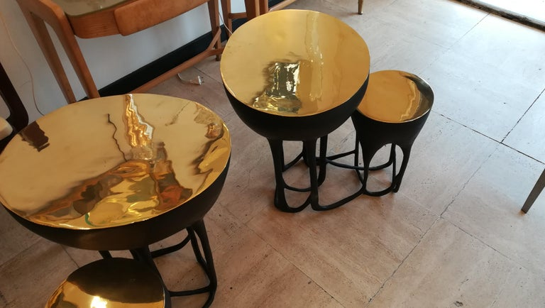 French Pair of Double Top Bronze Side Tables For Sale