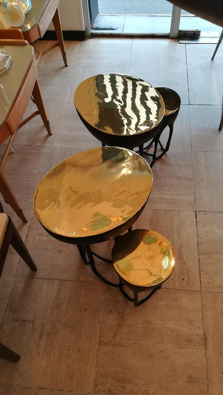 Cast Pair of Double Top Bronze Side Tables For Sale