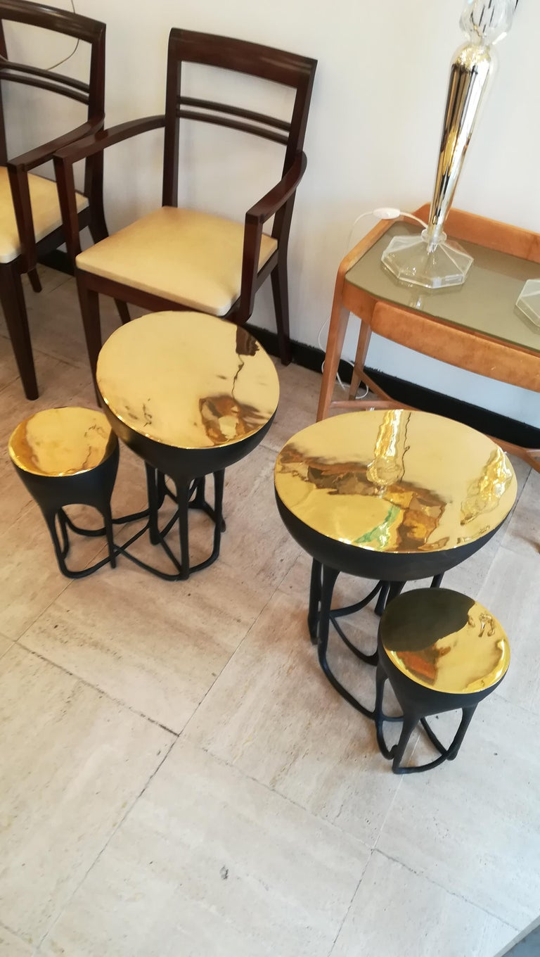 Pair of Double Top Bronze Side Tables In Excellent Condition For Sale In Saint-Ouen, FR