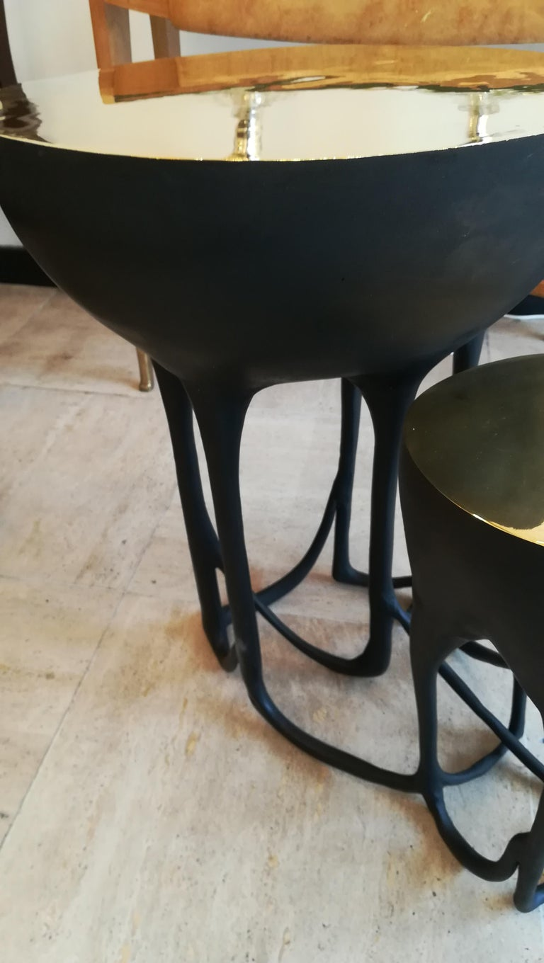 Contemporary Pair of Double Top Bronze Side Tables For Sale
