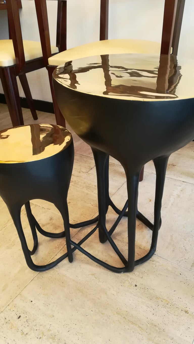 Pair of Double Top Bronze Side Tables For Sale 1