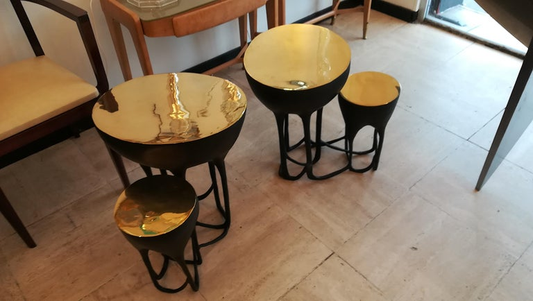 Pair of Double Top Bronze Side Tables For Sale 2
