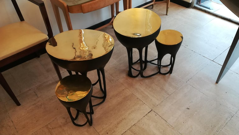 Pair of Double Top Bronze Side Tables For Sale 3