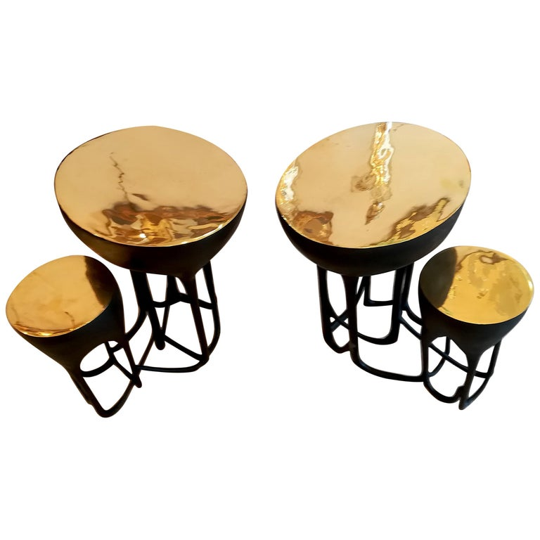 Pair of Double Top Bronze Side Tables For Sale