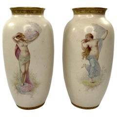 Pair of Doulton Lambeth Faience Vases. J.P. Hewitt, circa 1885