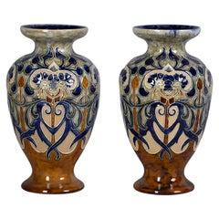 Pair of Doulton Lambeth Stoneware Vases, circa 1895