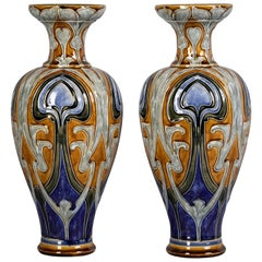 Pair of Doulton Lambeth Stoneware Vases, Dated 1907