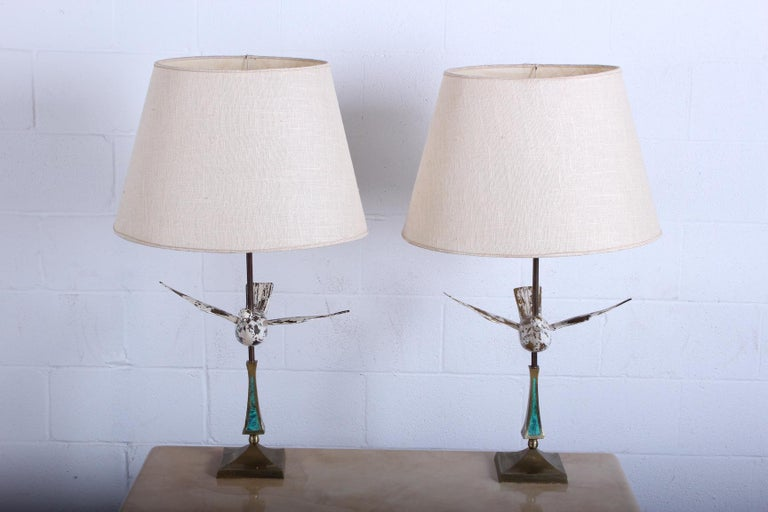 Pair of Dove Lamps by Pepe Mendoza In Good Condition For Sale In Dallas, TX