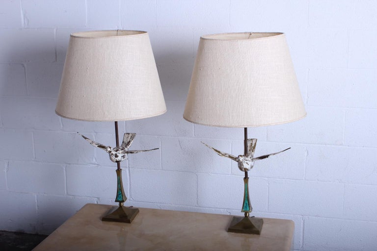 Mid-20th Century Pair of Dove Lamps by Pepe Mendoza For Sale