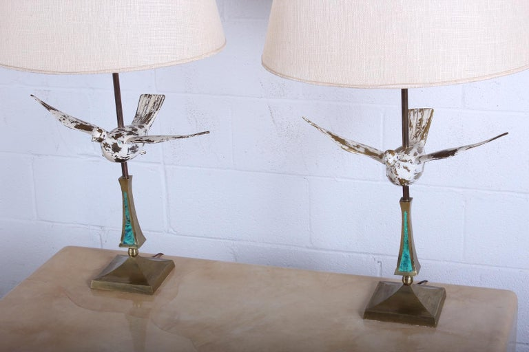 Brass Pair of Dove Lamps by Pepe Mendoza For Sale
