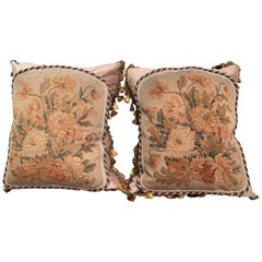 Pair of Down Pillows Made with 18th Century Aubusson Tapestry, Trim and Tassels