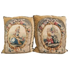 Pair of Down Pillows Made with 18th Century Aubusson Tapestry, Trim and Velvet