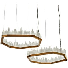 Pair of Downtowns, Natural Selenite Pendant Lamps