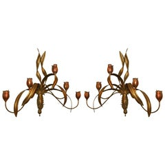 Pair of Dramatic Gilt Metal Tulip Sconces