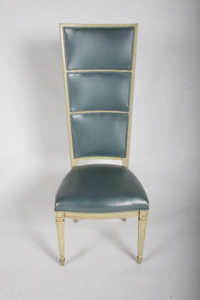 American Pair of Dramatic High Back Hollywood Regency Occasional or Dining Chairs For Sale