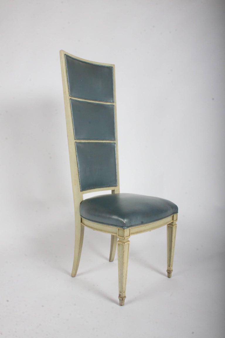 Pair of Dramatic High Back Hollywood Regency Occasional or Dining Chairs In Good Condition For Sale In St. Louis, MO