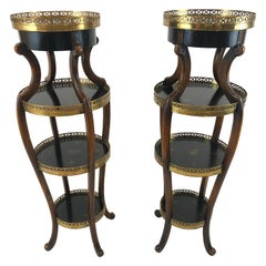 Pair of Dramatic Theodore Alexander Hand Painted Ebonized Wood and Brass Stands