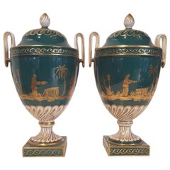 Green porcelain vases decorated with gold figures 1970s Dresden