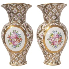 White and pure gold porcelain vases decorated with flowers 1970s Dresden