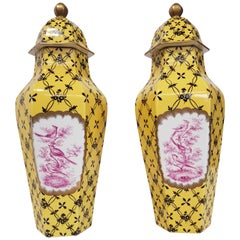 Porcelain Yellow couple vases decorated in pink and black of 1970s Dresden