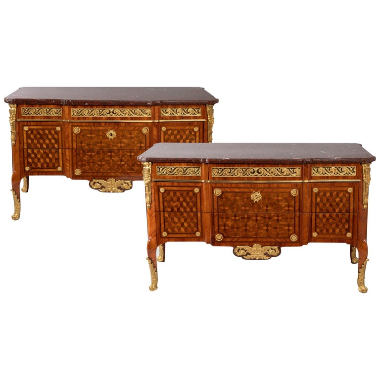 Pair of Dresser, Transition Period 18th Century by Jacques Dautriche For Sale