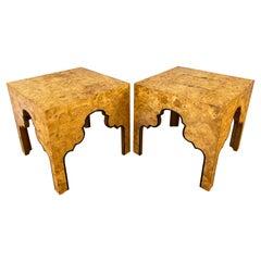 Pair of Drexel Burled Carpathian Elm End Tables Repertoire Collection