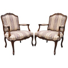Pair of Drexel Heritage French Provincial Louis XV Style Armchairs