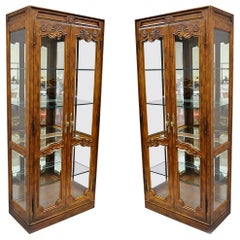 Pair of Drexel Heritage Old Continent Lighted Curio China Cabinet Display Case