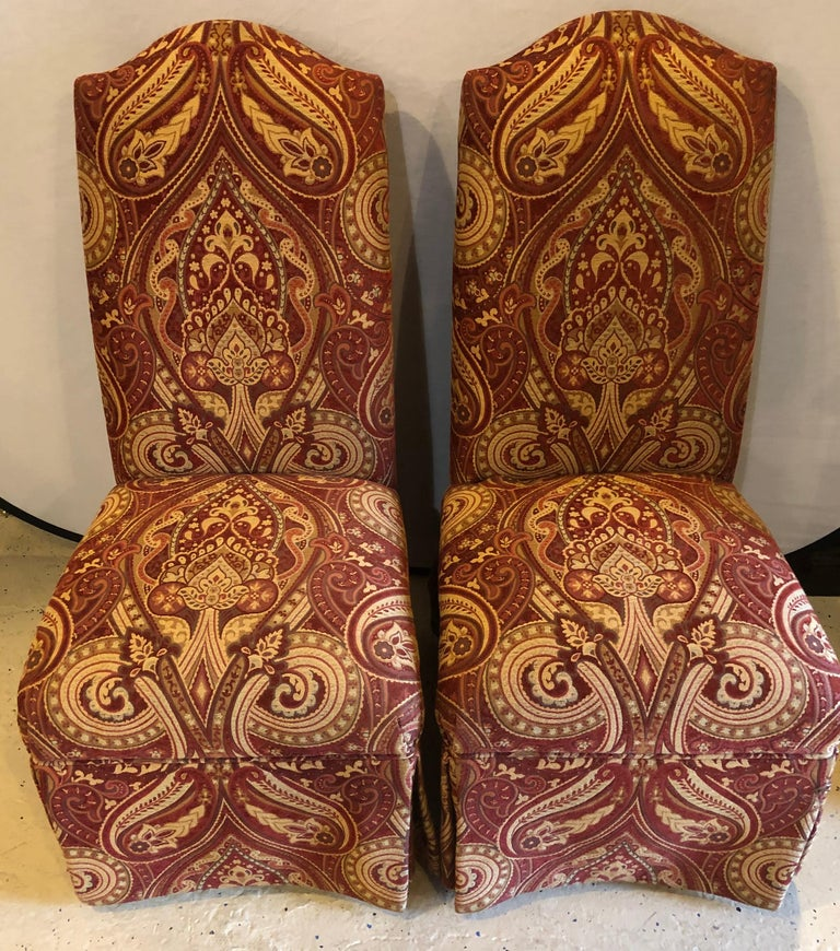 Pair of Drexel side office or desk chairs in a fine upholstery.